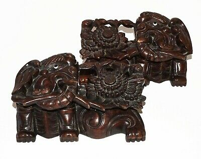 Pair 19/20C Chinese Pierced Wood Carved Elephant & Flower Motif Ornaments (Cwo)