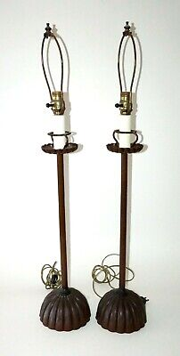 Pair 20C Japanese Tall Copper Chrysanthemum Altar Candle-stands Wired Lamps (Cwo