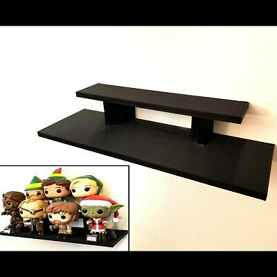 12 inch - Black Funko Pop! Display Wall Shelf - Holds Up to 7 Pops On 2 Levels