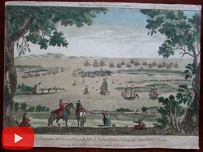 Portsmouth England birds-eye view c. 1750-70 rare print vue d'optique tall ships