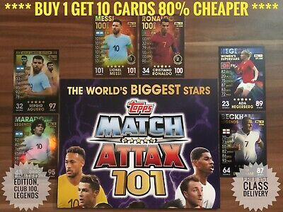 Topps Match Attax 101, Buy 1 Get 10 Cards 80% Cheaper, 100 Club, Ronaldo Legends
