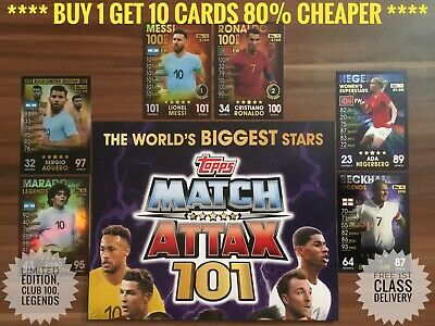 Topps Match Attax 101 Cards, Buy 2 Get 4 Free, 100 Club, Limited Edition,Messi