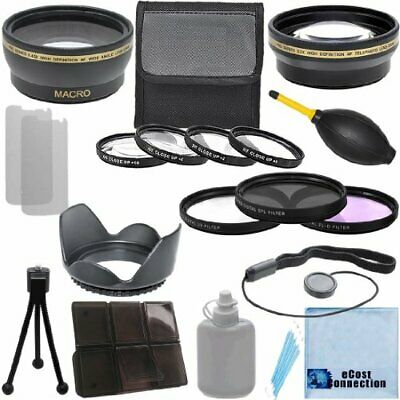 Lens Bundle 58mm 0.43x Wide Angle, 2.2x Telephoto, Kits Canon T3i 70D 5D T6