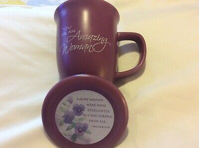 Ceramic Mug You are an Amazing Woman Abbey Gift  Lid Proverbs 31:29