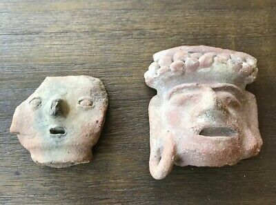 Authentic Pre Columbian Pottery Heads. Ecuador C. 500 CE