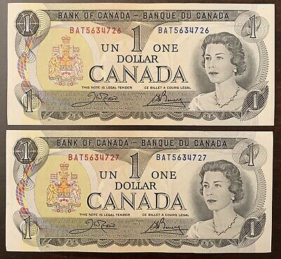 1973 - 2x Canadian One Dollar Banknote, 1$ - Crow/Bouey Bank Of Canada