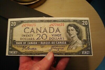 1954 $20 Dollar Bank of Canada Banknote JE8776675 Bright Crisp Miscut