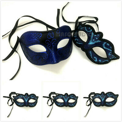 Navy Blue Masquerade Ball Mask Pair Black Trim Costume Dance Prom Birthday Party