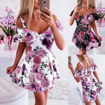 Elegant Women Summer Boho Floral Holiday Mini Floral Dress Ladies Beach Sundress