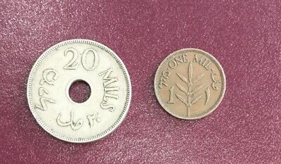 1927 Palestine 1 And 20 Mils Coins #235