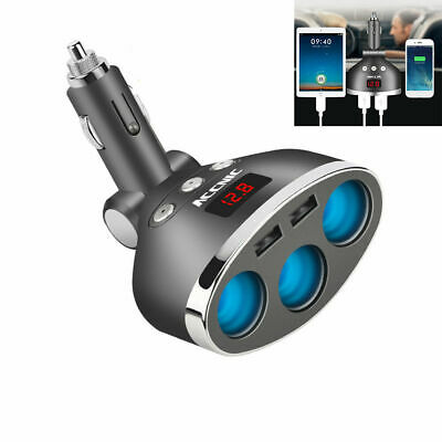 3 Way Multi Car Cigarette Lighter Socket Extension Splitter USB Charger  DC12V