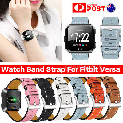 For Fitbit Versa Smartwatch Genuine Leather Replacement Wrist Watch Band Strap
