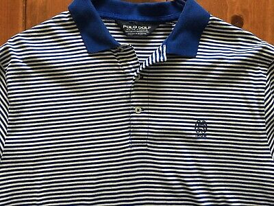 Mens Polo Golf Short Sleeve Shirt Blue  striped Large  Ralph Lauren EUC