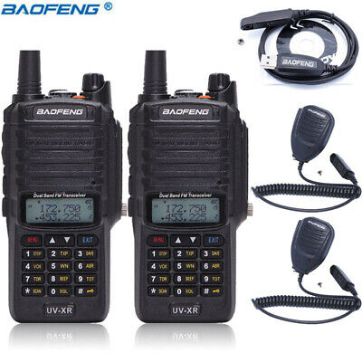 2x Baofeng UV-XR 10W IP67 Waterproof Long Range Powerful V/UHF Ham Two Way Radio