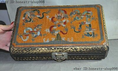 Old China nobility lacquerware wood Hand-carved Dragon palace jewelry box boxes