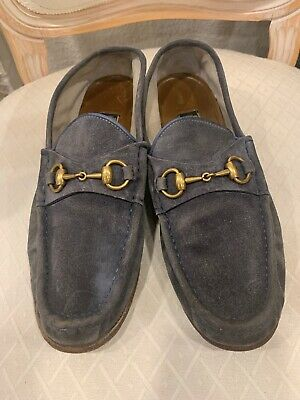 4b13c2d88 Gucci Mens Shoes Vintage Grayish Blue Suede Loafer with Buckle US 8.5 EU 42