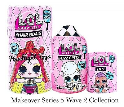 3 LOL Surprise Makeover Series 5 WAVE 2 Hairgoals Doll Fuzzy Pets LILS Sister 6