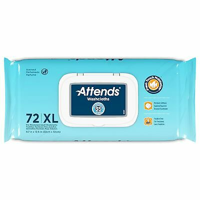 """WCCP1000-3 PKS 215 Count! Attends Washcloths Scented Adult Wipes 8/"""" x 12/"""""""