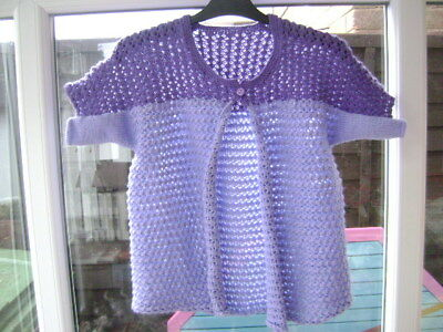"New Hand Knitted Ladies Lilac/Purple Shrug/Bed jacket 34/38"" chest"
