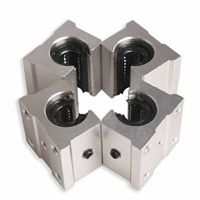 4 x SBR12UU 12mm Aluminum Linear Motion Router Bearing block, silver C9C9