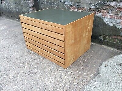 Original Mid-Century Industrial Vintage A1 Map Architects Plan Chest 6 Drawers