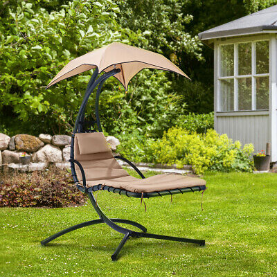 Garden Hammock Chair Helicopter Swing Seat Hanging Sun Lounger W/ Cushion Canopy