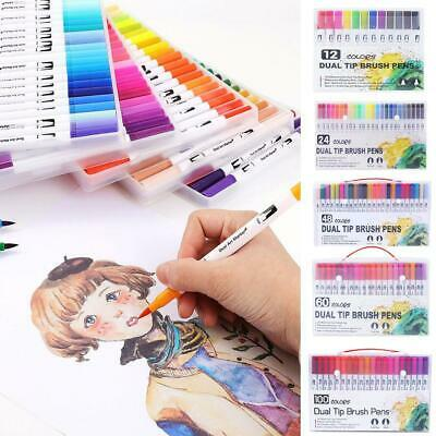 12/24/48/60/100 Dual-Tip Brush Marker Pens Color Markers Set Water-based Colors