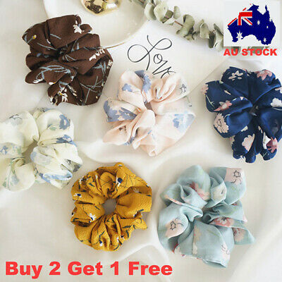 Summer Floral Hair Scrunchies Bun Ring Elastic Fashion Sports Dance Scrunchie AU