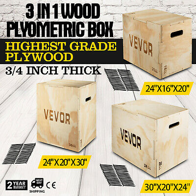 3 in 1 Wood Plyometric Box for Jump and Training Exercise Fit Plyo Step-ups
