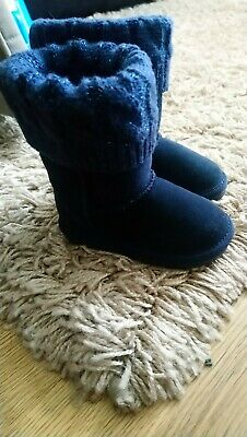 Baby Girls Next Boots Size Uk 3 blue winter flat lined suede