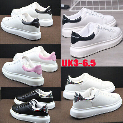 Ladies Womens Chunky Lace Up McQueen Trainers Sports Running Comfy Shoes 2.5-9 A