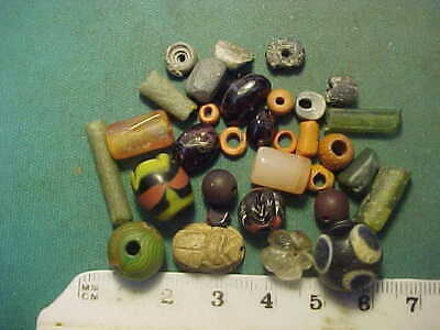 30+ ancient beads circa 1000 BC-1700 AD + Egyptian scarab  amulet