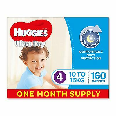 Huggies Ultra Dry Nappies, Boys, Size 4 Toddler (10-15kg), 160 Count