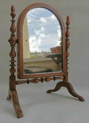Vtg Victorian Georgian Mahogany Inlaid Folding Dressing Table Vanity Mirror