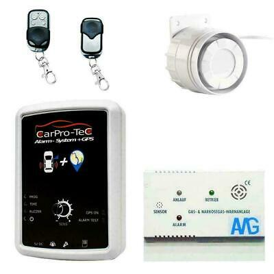 Caravan alarm system with GPS tracker and gas detector truck