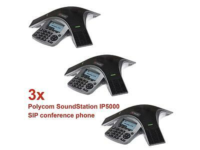 3x Polycom SoundStation IP 5000 HD Voice SIP Konferenztelefon