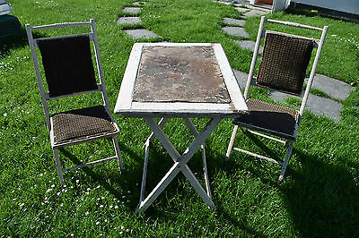 Old Wood Garden Furniture um 1900 - Table/Chairs - Top Decoration (180-16)