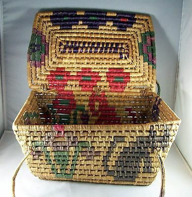 Vintage Hand Woven Southwest Sweet Grass Basket with Handle & Lid  15 ins. Long