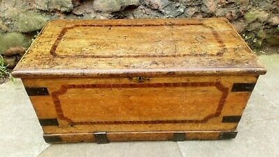 Lovely 19th century original handpainted trunk/blanket chest