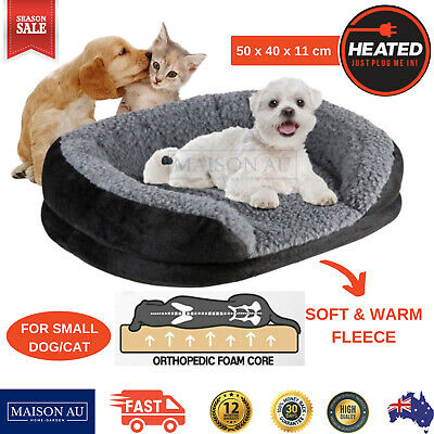 Heated Dog Bed Pet Puppy Cat Bedding Electric Heating Warm Soft Small Medium