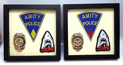 Jaws Movie Amity Police Chief Uniform Prop Shadow Box Display- Red/Yellow Patch