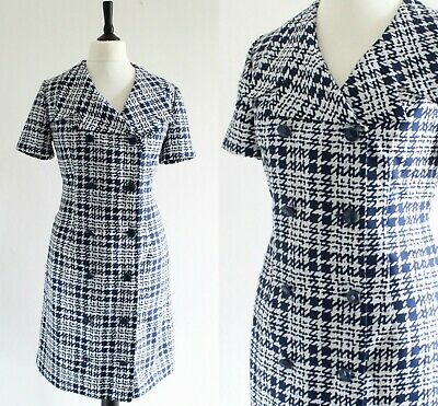 Vintage 1960s MOD Dress RETRO Navy White Dogtooth SCOOTER GOGO Day Dress 16