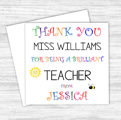 Personalised Thank You Teacher Card Gift Nursery School Teaching Thank You