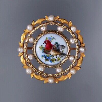 Gorgeous! Antique Victorian 18k Gold Porcelain Brooch/pin Birds Seed Pearls 14g