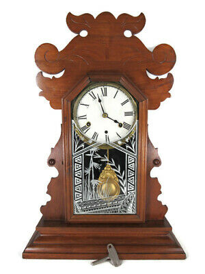 antique mantel clock NEW HAVEN carved gingerbread REVERSE PAINTED key RUNS