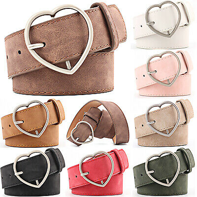 Ladies Women Heart Buckle Belt Elasticated Dress Jeans Faux Leather Waistband
