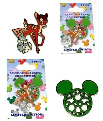Rare LE Disney Pin Set✿ Bambi Thumper Mickey Mouse Character Ears TWO Pins New