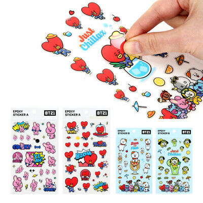 Kpop BTS BT21 Stickers TATA CHIMMY KOYA COOKY Sticker Cartoon Phone Sticker PVC