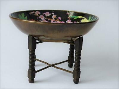 Chinese Famille Noir  Brass Cased Bowl & Stand Mid, 20th c