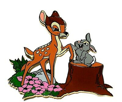 New RARE LE 250 Disney Auctions Pin ✿ Friends Bambi Thumper Stump Forest Flowers